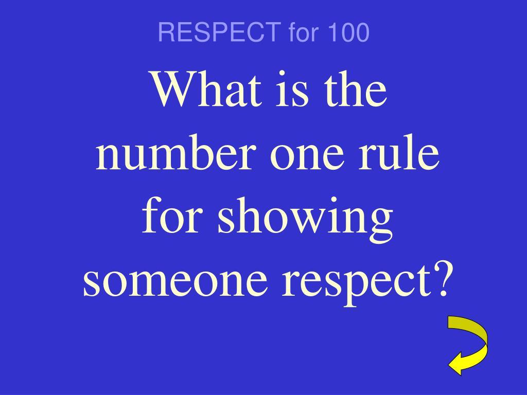 RESPECT for 100