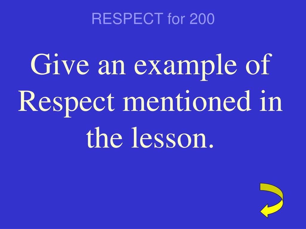 RESPECT for 200