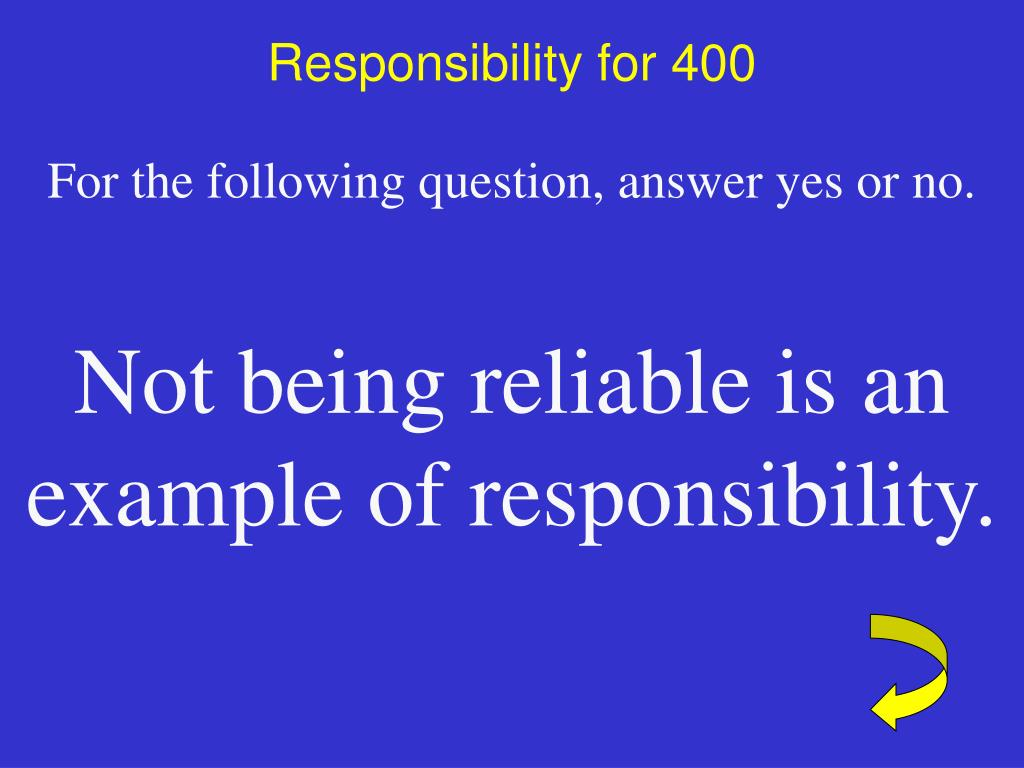 Responsibility for 400