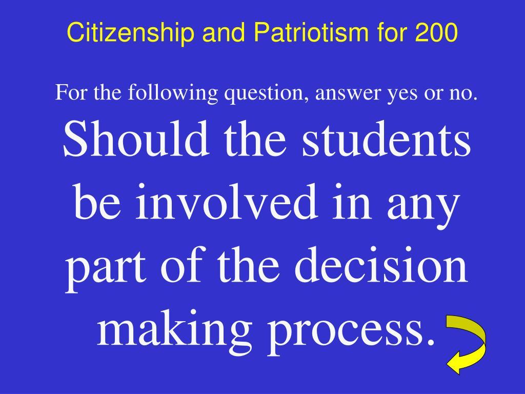 Citizenship and Patriotism for 200