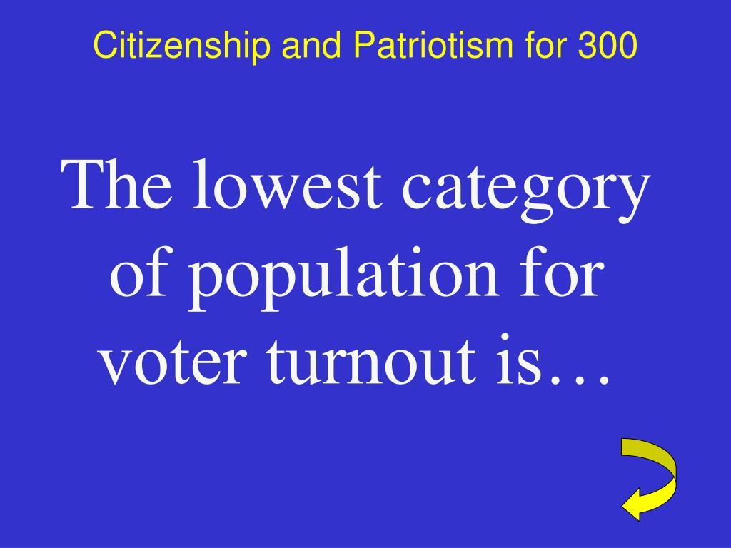 Citizenship and Patriotism for 300