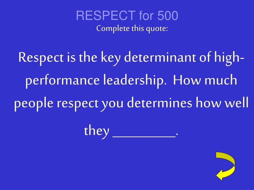 RESPECT for 500
