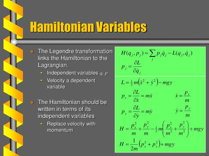 The Legendre transformation links the Hamiltonian to the Lagrangian.