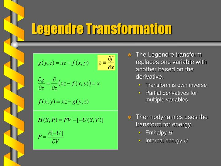The Legendre transform replaces one variable with another based on the derivative.