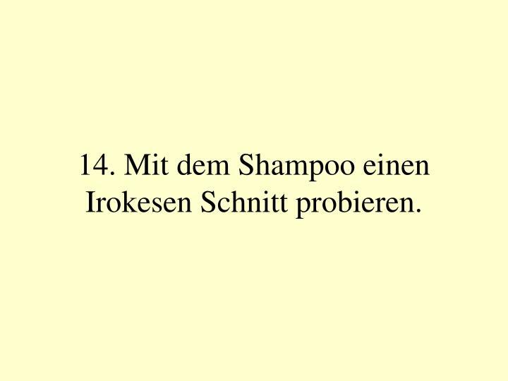 14. Mit dem Shampoo einen Irokesen Schnitt probieren.