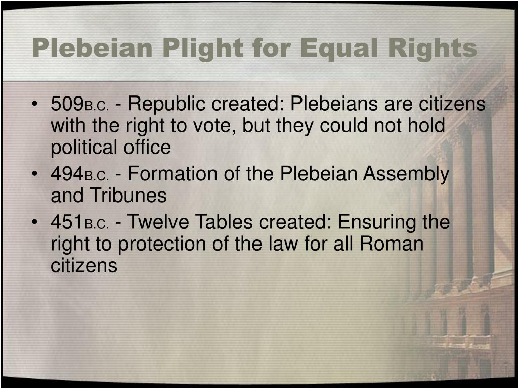 Plebeian Plight for Equal Rights