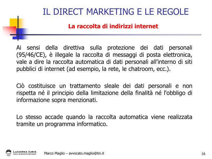 Ai sensi della direttiva sulla protezione dei dati personali (95/46/CE), è illegale la raccolta di messaggi di posta elettronica, vale a dire la raccolta automatica di dati personali all'interno di siti pubblici di internet (ad esempio, la rete, le chatroom, ecc.).