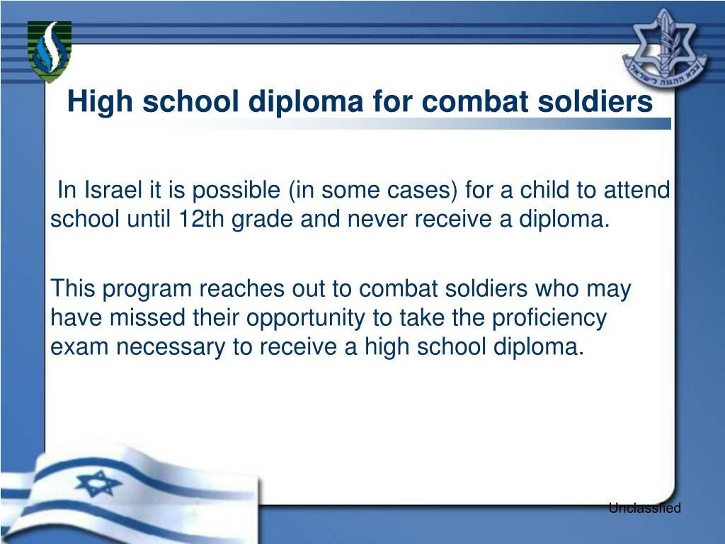 High school diploma for combat soldiers