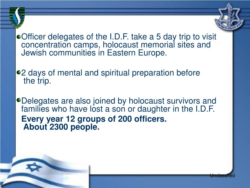 Officer delegates of the I.D.F. take a 5 day trip to visit concentration camps, holocaust memorial sites and Jewish communities in Eastern Europe.