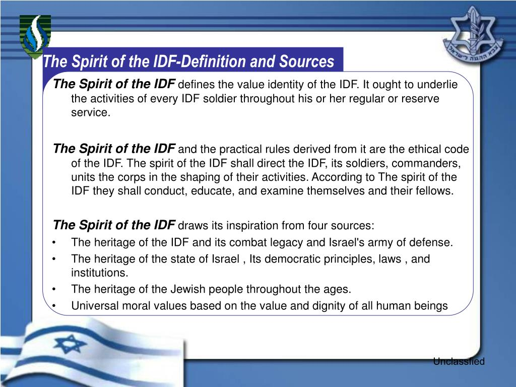 The Spirit of the IDF-Definition and Sources