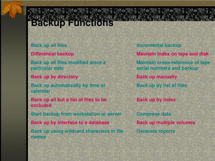 Backup Functions