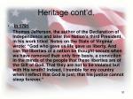 heritage cont d