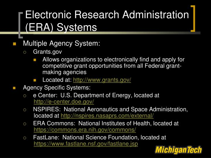 Electronic Research Administration (ERA) Systems