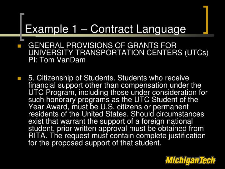Example 1 – Contract Language