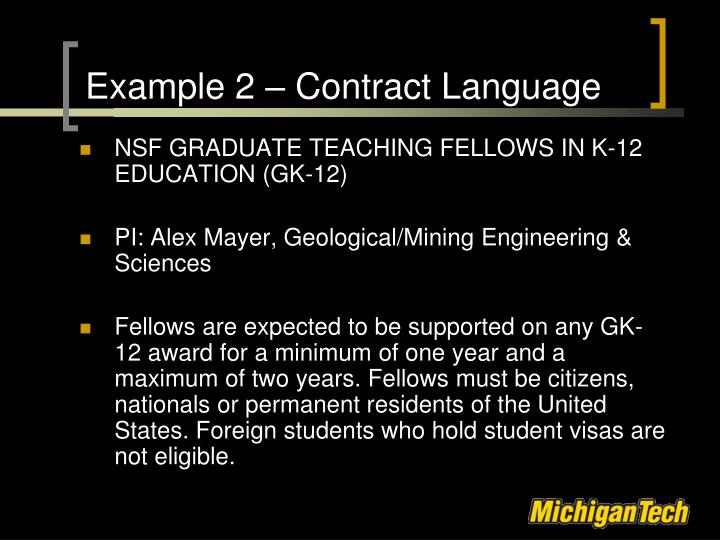 Example 2 – Contract Language