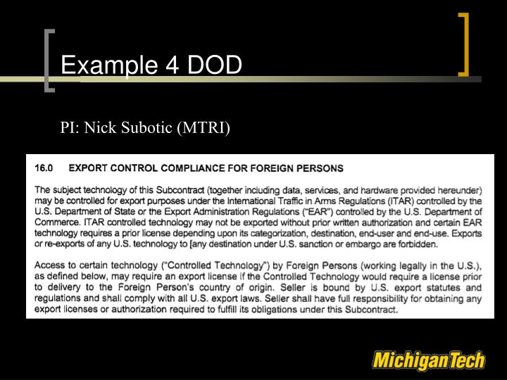Example 4 DOD