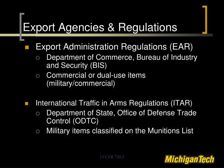 Export Agencies & Regulations