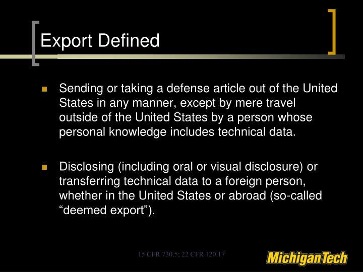 Export Defined