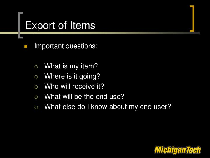 Export of Items