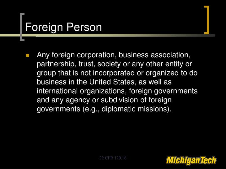 Foreign Person