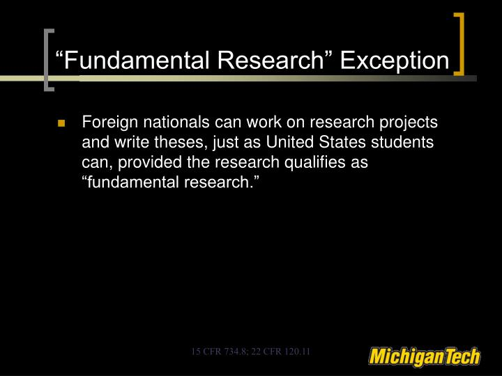 """Fundamental Research"" Exception"