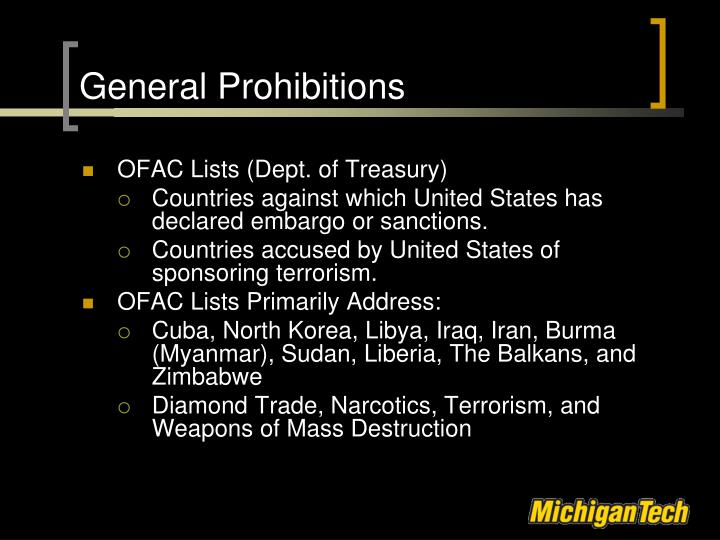General Prohibitions