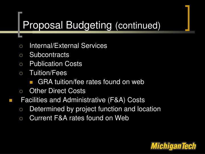 Proposal Budgeting
