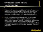 proposal deadline and authorization