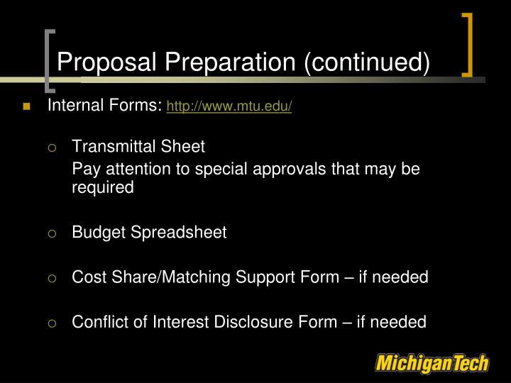 Proposal Preparation (continued)