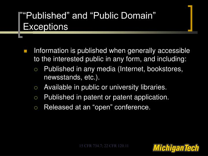 """Published"" and ""Public Domain"" Exceptions"