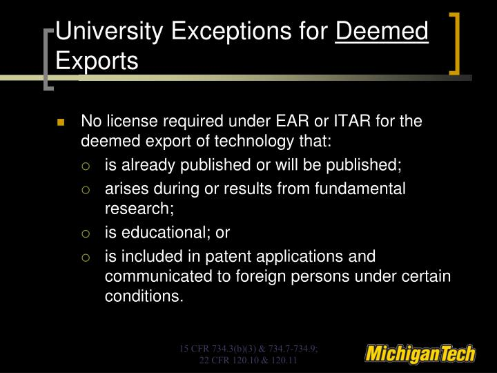 University Exceptions for