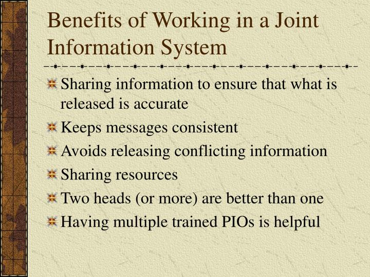 Benefits of Working in a Joint Information System