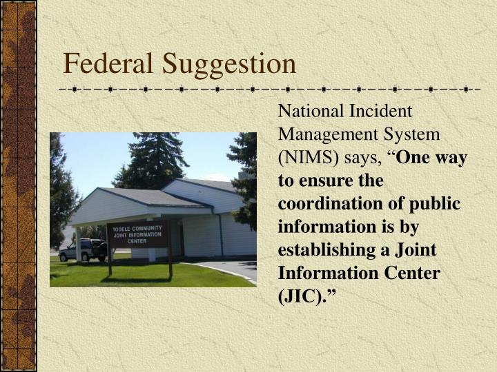 Federal Suggestion