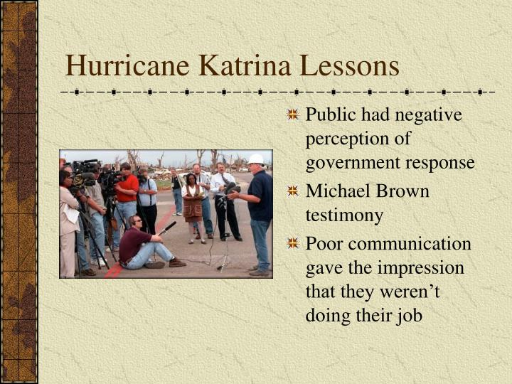 Hurricane Katrina Lessons