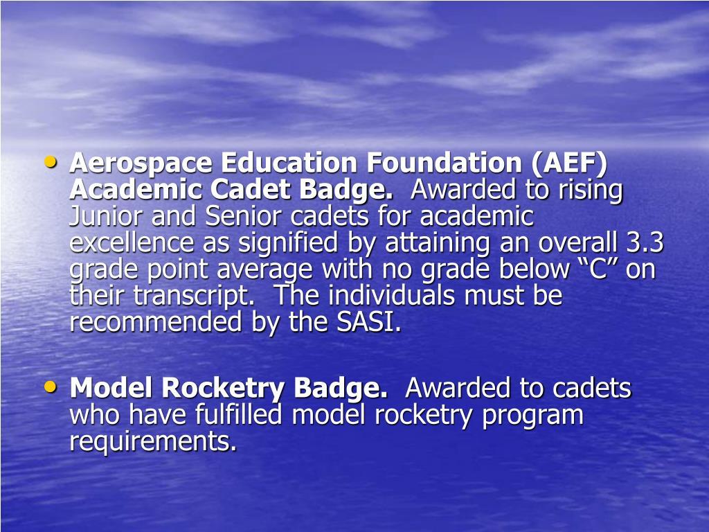 Aerospace Education Foundation (AEF) Academic Cadet Badge.