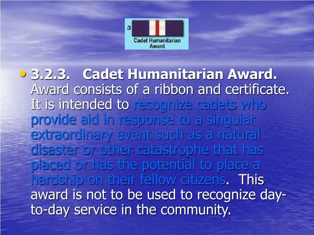 3.2.3.   Cadet Humanitarian Award.