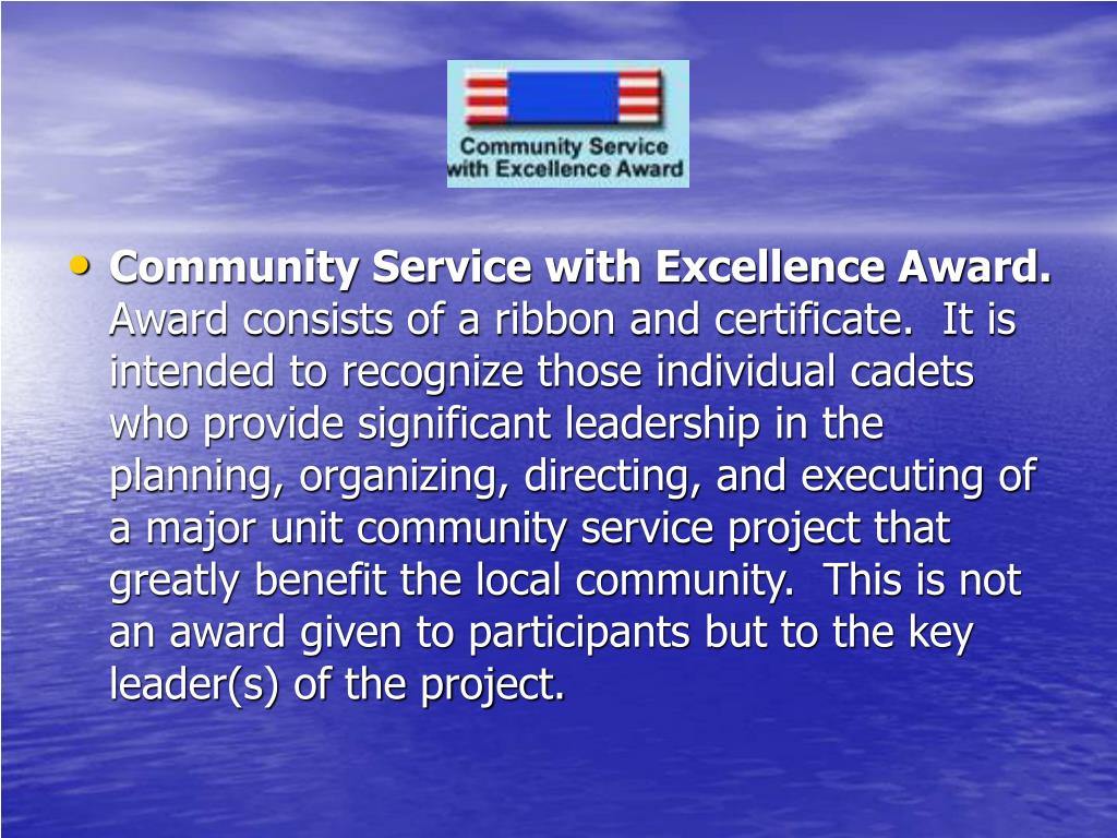 Community Service with Excellence Award.
