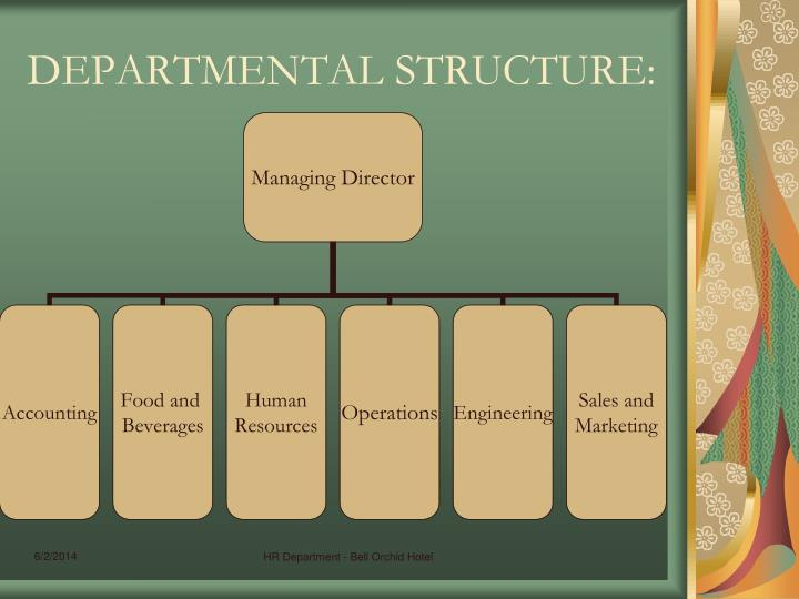 DEPARTMENTAL STRUCTURE: