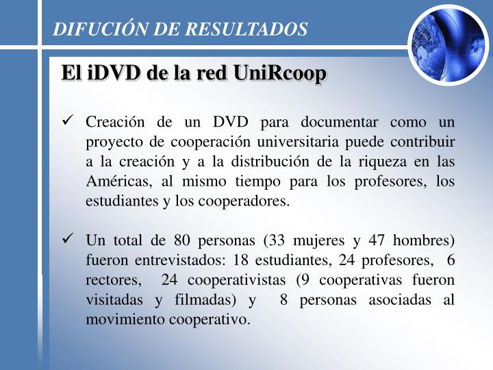 DIFUCIÓN DE RESULTADOS