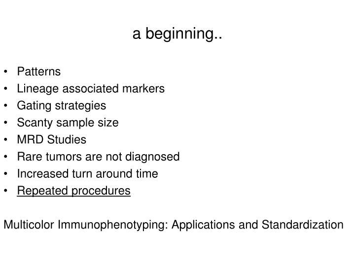 a beginning..