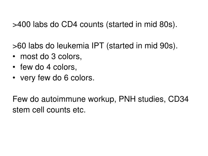 >400 labs do CD4 counts (started in mid 80s).