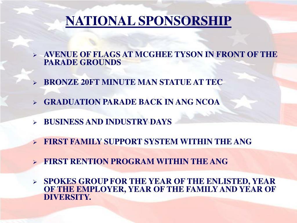 NATIONAL SPONSORSHIP