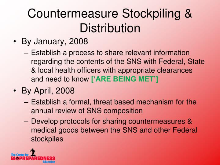 Countermeasure Stockpiling & Distribution