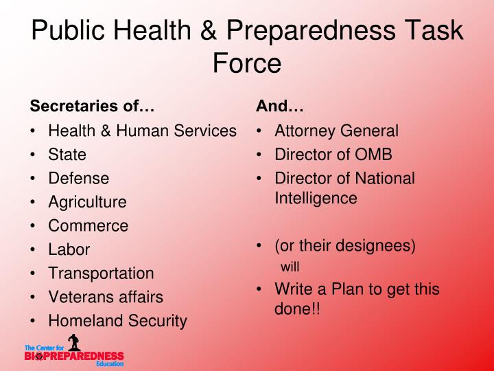 Public Health & Preparedness Task Force