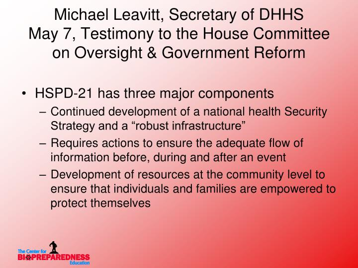 Michael Leavitt, Secretary of DHHS