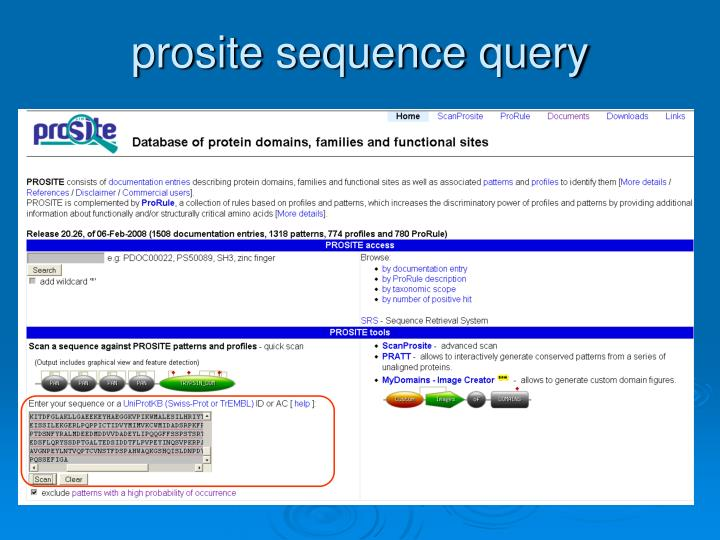 prosite sequence query