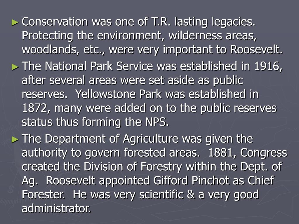 Conservation was one of T.R. lasting legacies.  Protecting the environment, wilderness areas, woodlands, etc., were very important to Roosevelt.