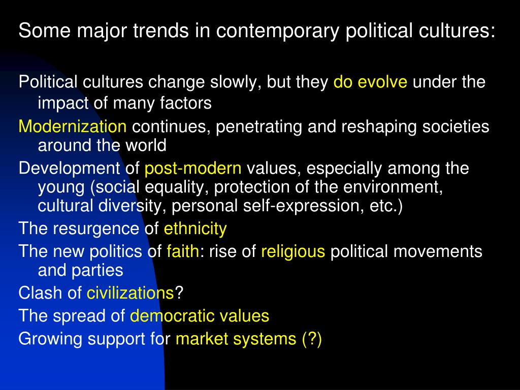 Some major trends in contemporary political cultures: