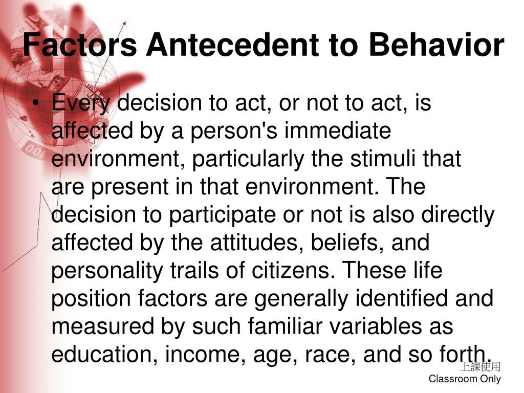 Factors Antecedent to Behavior