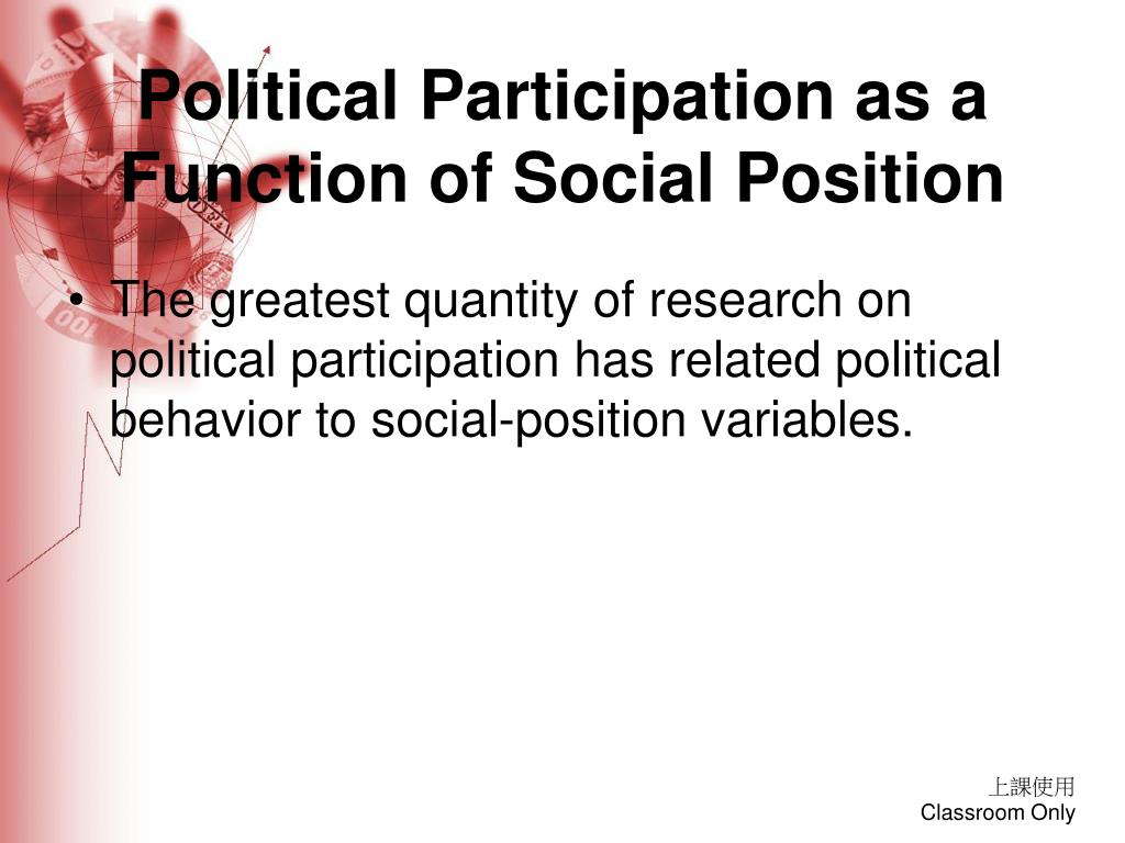 Political Participation as a Function of Social Position